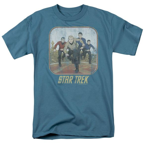 St Original Running Cartoon Crew Short Sleeve Adult Slate T-Shirt