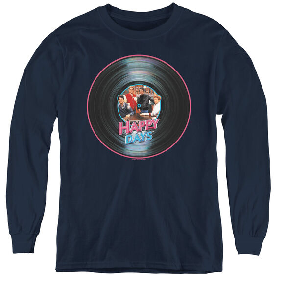 Happy Days On The Record - Youth Long Sleeve Tee - Navy