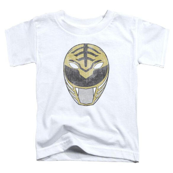 Power Rangers White Ranger Mask Short Sleeve Toddler Tee White T-Shirt