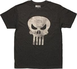 Punisher Distressed Skull Logo Charcoal T-Shirt