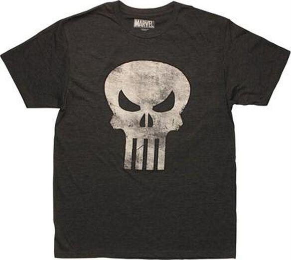 Punisher Distressed Skull Logo Charcoal T-Shirt