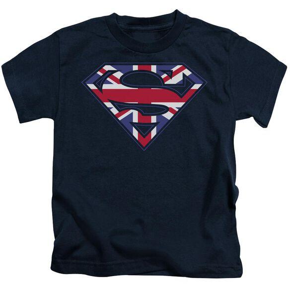 Superman Great Britian Shield Short Sleeve Juvenile Navy Md T-Shirt