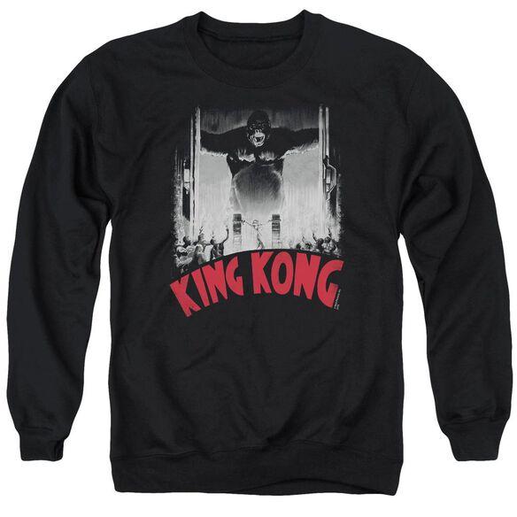King Kong At The Gates Poster Adult Crewneck Sweatshirt