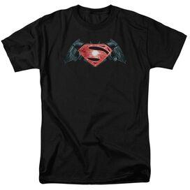 Batman V Superman Industrial Logo Short Sleeve Adult Black T-Shirt