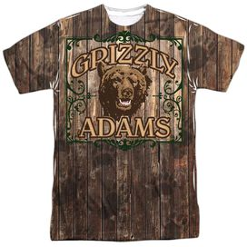 Grizzly Adams Paw Prints Short Sleeve Adult Poly Crew T-Shirt