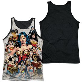 Wonder Woman 75 Th Collage Adult Poly Tank Top Black Back