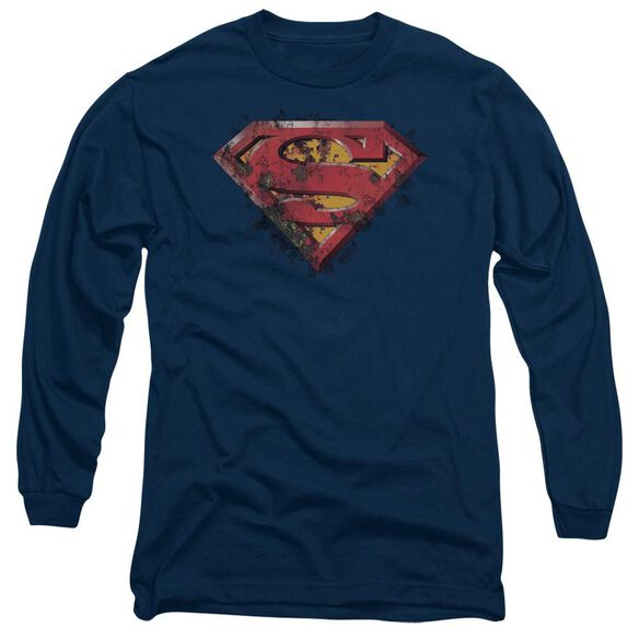 Superman Rusted Shield Long Sleeve Adult T-Shirt