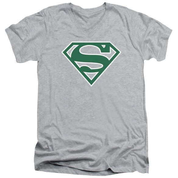 Superman Green & White Shield Short Sleeve Adult V Neck Athletic T-Shirt