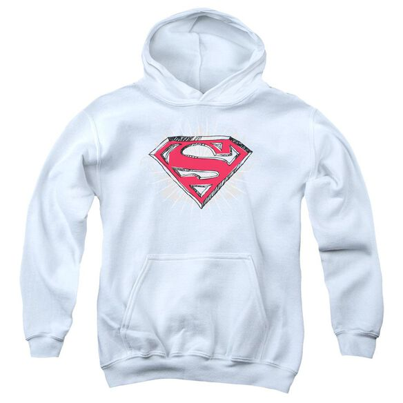Superman Hastily Drawn Shield Youth Pull Over Hoodie