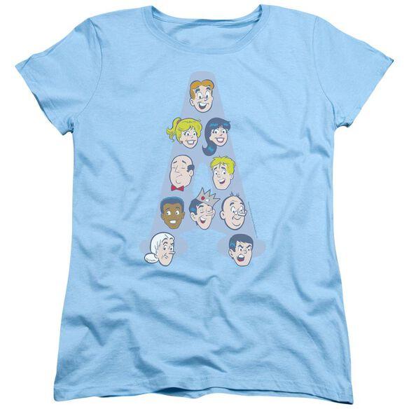 Archie Comics Character Heads Short Sleeve Womens Tee Light T-Shirt