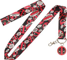 Deadpool Logo Bubbles Metal Charm Wide Lanyard