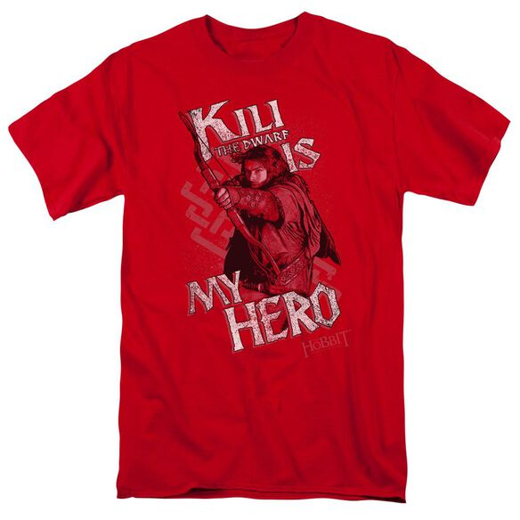 The Hobbit Kili Is My Hero Short Sleeve Adult Red T-Shirt