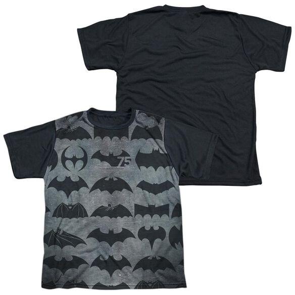 Batman 75 Symbols Short Sleeve Youth Front Black Back T-Shirt
