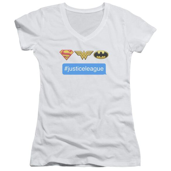 Dc Hashtag Jla Junior V Neck T-Shirt