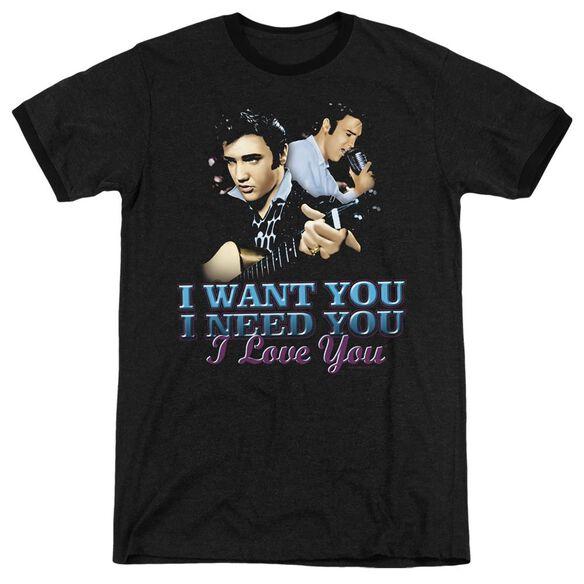 Elvis Presley I Want You - Adult Heather Ringer - Black
