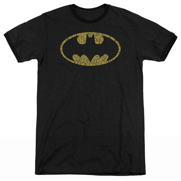 Batman Word Logo - Adult Heather Ringer - Black