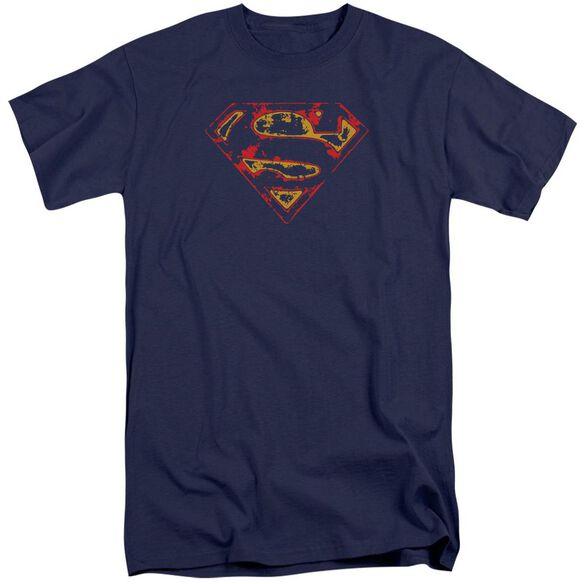 Superman Super Distressed Short Sleeve Adult Tall T-Shirt