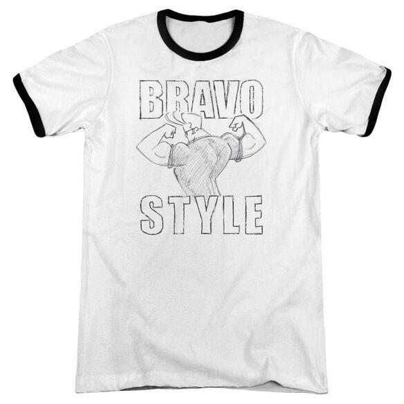 Johnny Bravo Bravo Style Adult Ringer White Black