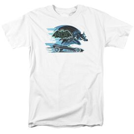 Beware The Batman With Batmobile Short Sleeve Adult White T-Shirt