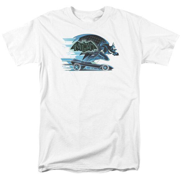 Beware The Batman With Batmobile Short Sleeve Adult White T-Shirt