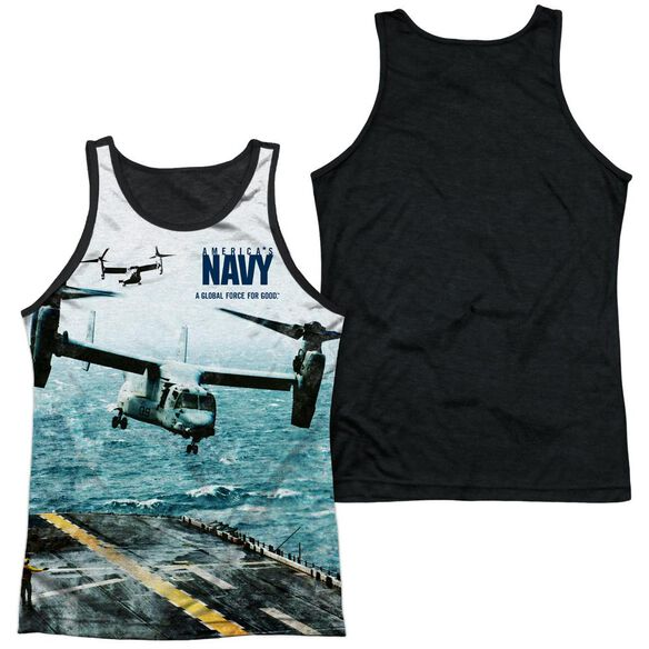 Navy Osprey Adult Poly Tank Top Black Back