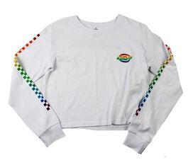 Dickies Rainbow Checkered Women's Juniors Crop Long Sleeve T-Shirt