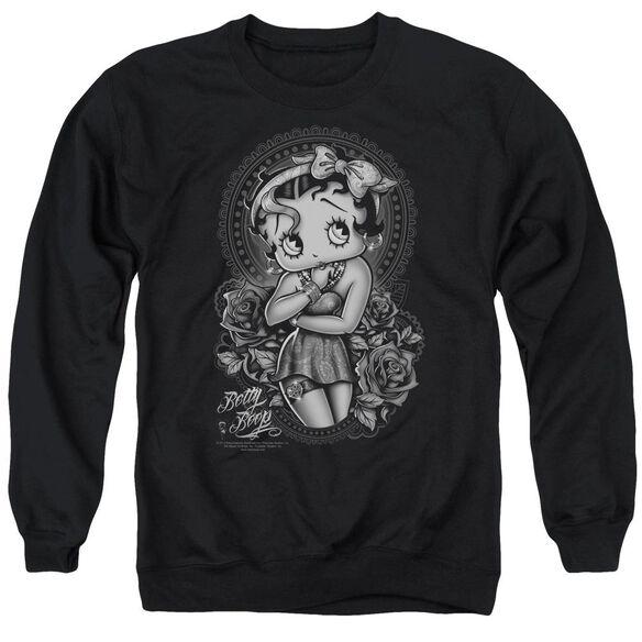Betty Boop Fashion Roses Adult Crewneck Sweatshirt