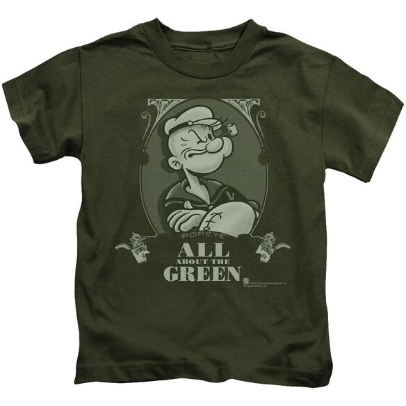 Popeye All About The Green Short Sleeve Juvenile Military Green T-Shirt