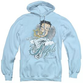 BETTY BOOP I BELIEVE IN ANGELS - ADULT PULL-OVER HOODIE - LIGHT BLUE