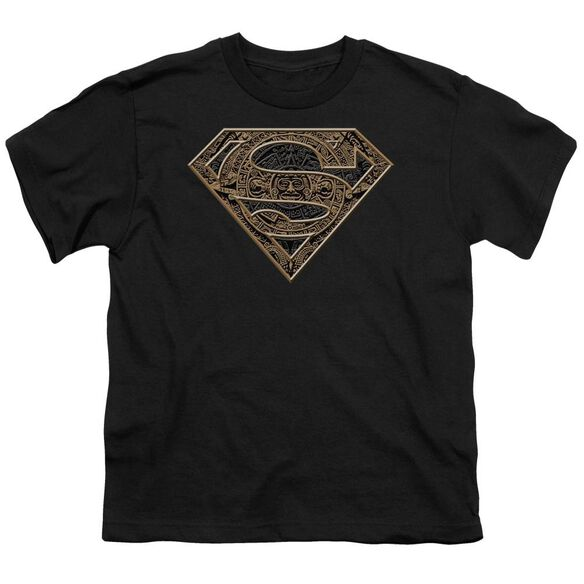 SUPERMAN AZTEC SHIELD - S/S YOUTH 18/1 - BLACK T-Shirt
