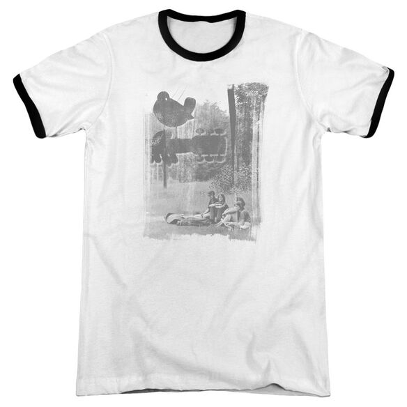 Woodstock Hippies In A Field Adult Ringer White Black