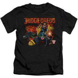 Judge Dredd Through Fire Short Sleeve Juvenile Black T-Shirt