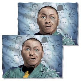 Three Stooges Curly Heads (Front Back Print) Poly 20 X28 Pillow Case White