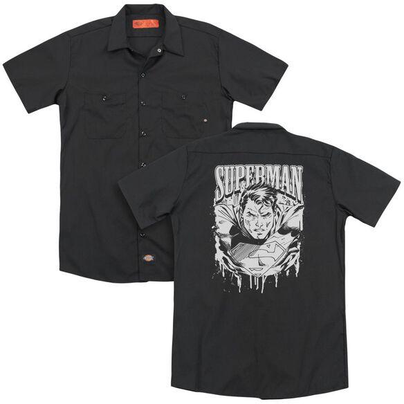 Superman Super Metal (Back Print) Adult Work Shirt
