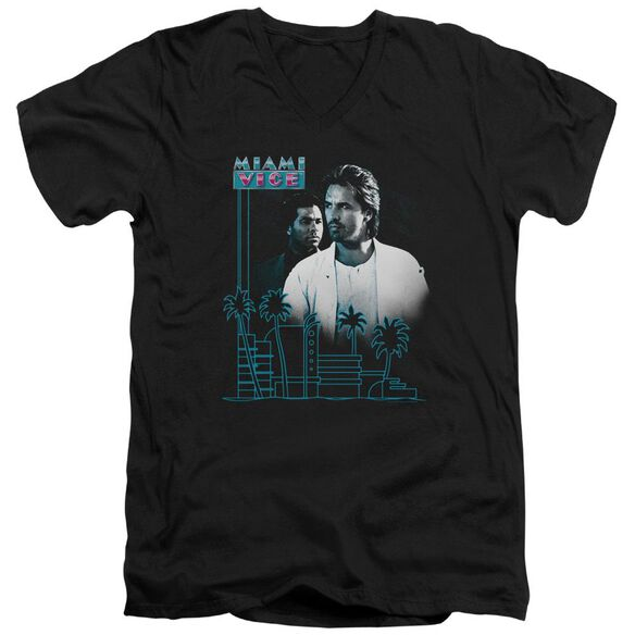 Miami Vice Looking Out Short Sleeve Adult V Neck T-Shirt