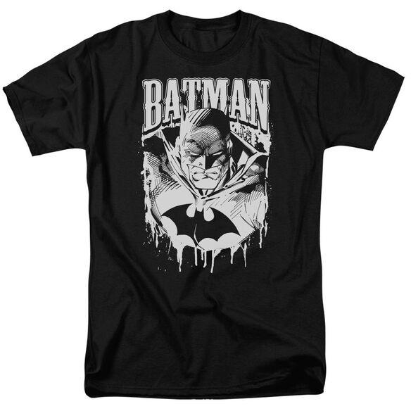 Batman Bat Metal Short Sleeve Adult Black T-Shirt