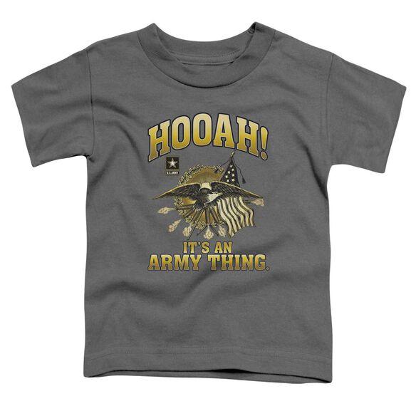 Army Hooah Short Sleeve Toddler Tee Charcoal T-Shirt