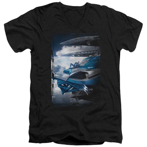 Power Rangers Blue Zord Poster Short Sleeve Adult V Neck T-Shirt