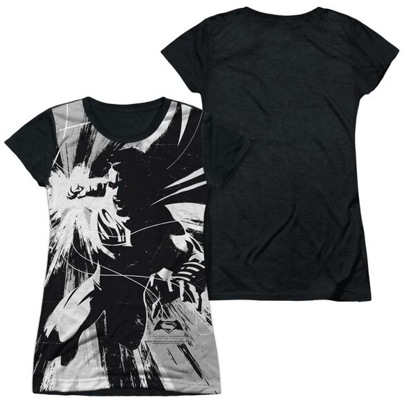 Batman V Superman Graphic Contrast Short Sleeve Junior Poly Black Back T-Shirt