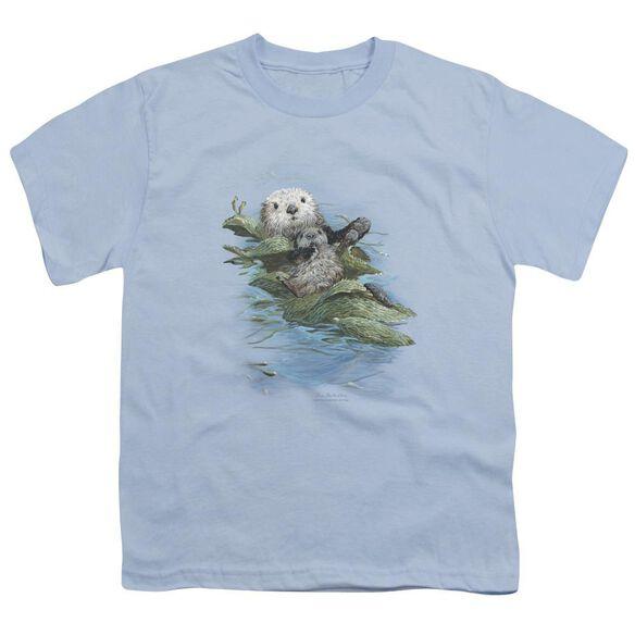 Wildlife Kelp Cradle Otters Short Sleeve Youth Light T-Shirt