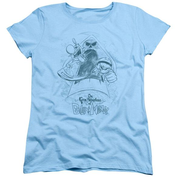 Grim Adventures Of Billy & Mandy Sketched Short Sleeve Womens Tee Light Blue T-Shirt