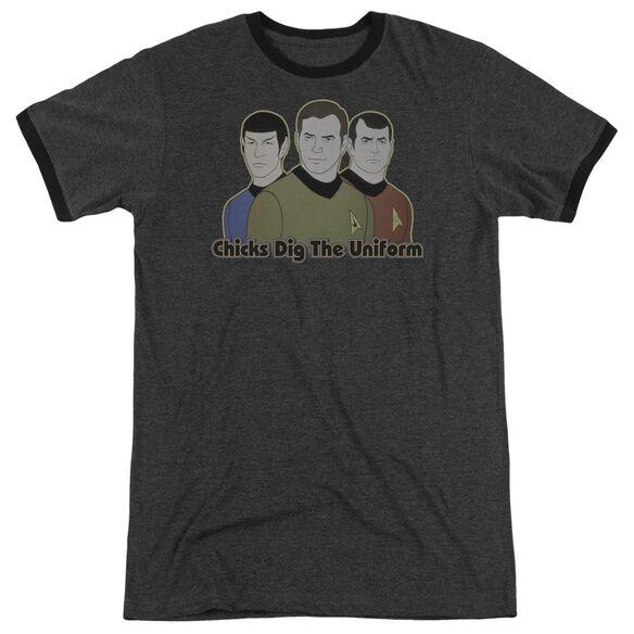 Star Trek Dig It Adult Heather Ringer Charcoal