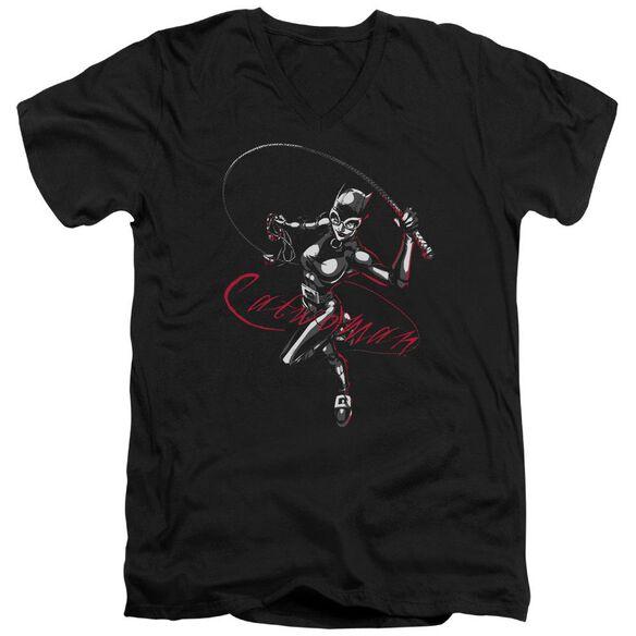 Batman Kitten With A Whip Short Sleeve Adult V Neck T-Shirt