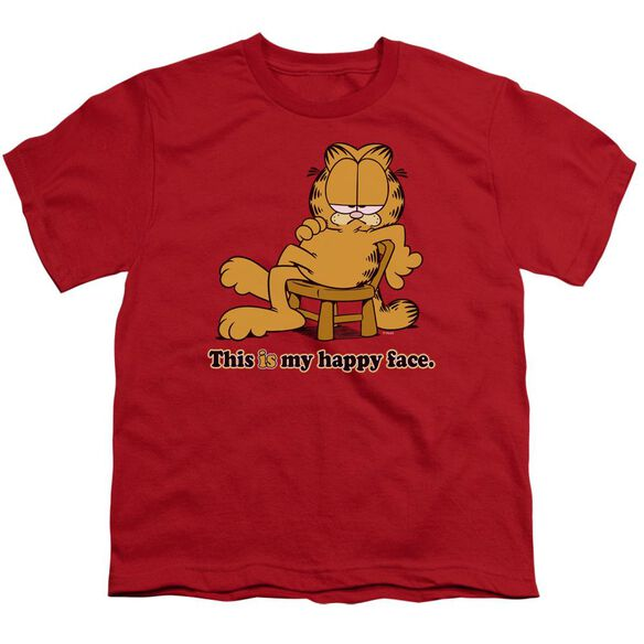 GARFIELD HAPPY FACE - S/S YOUTH 18/1 - RED T-Shirt