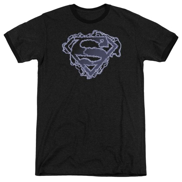 Superman Electric Supes Shield Adult Heather Ringer