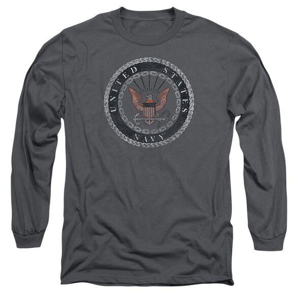Navy Rough Emblem Long Sleeve Adult T-Shirt