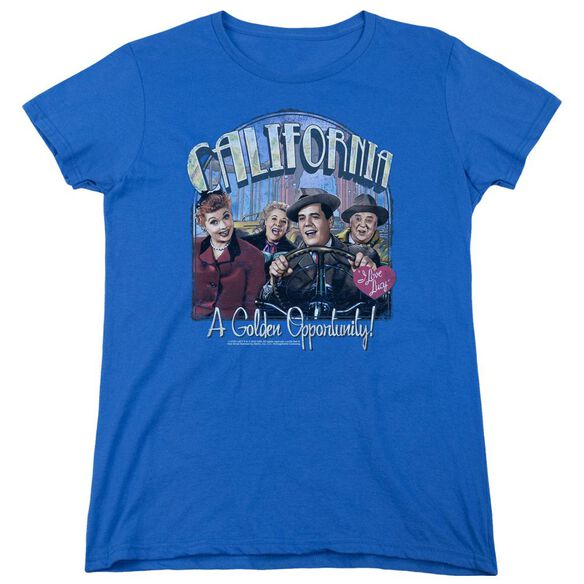 I Love Lucy Golden Opportunity Short Sleeve Womens Tee Royal T-Shirt