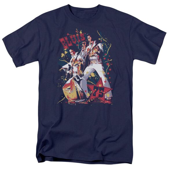 Elvis Eagle Elvis Short Sleeve Adult Navy T-Shirt