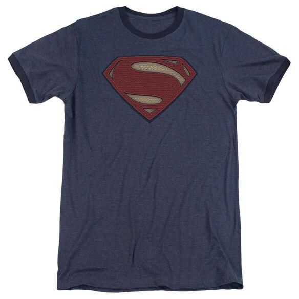 Batman V Superman Super Movie Logo Adult Heather Ringer Navy