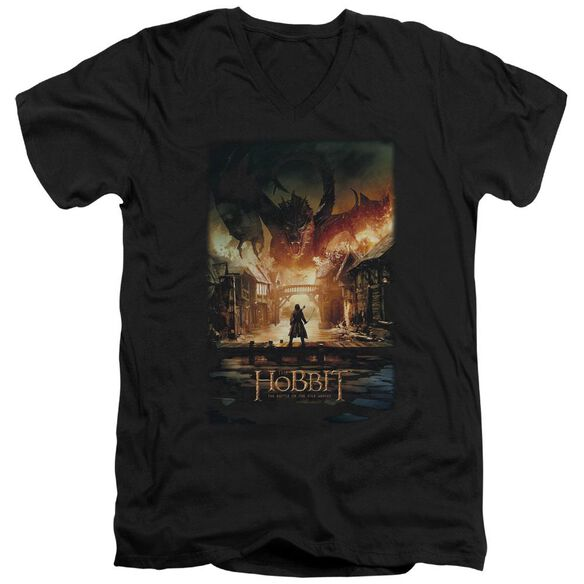 Hobbit Smaug Poster Short Sleeve Adult V Neck T-Shirt